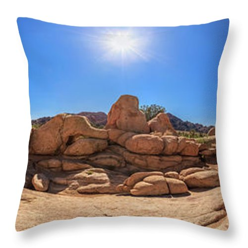Joshua Tree Throw Pillow featuring the photograph Weather Worn Rock Bowl by Scott Campbell