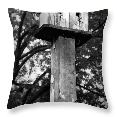 Birdhouse Throw Pillow featuring the photograph Weathered Bird House by Teresa Mucha