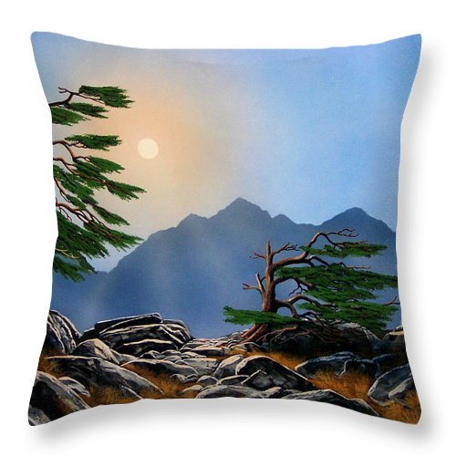 Weathered Warriors Throw Pillow featuring the painting Weathered Warriors by Frank Wilson