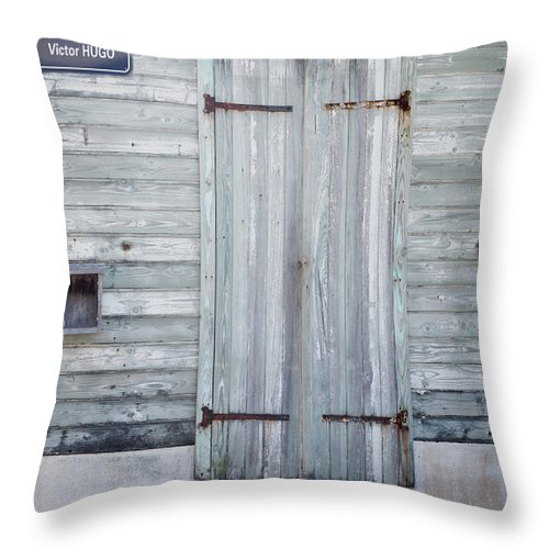 Europe Throw Pillow featuring the photograph Weathered Wooden Door In France by Joe Maggio
