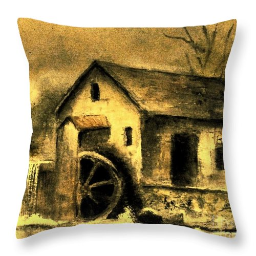 Millstream Throw Pillow featuring the painting Weathering Life's Storms by Hazel Holland
