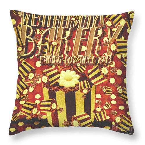 Vintage Throw Pillow featuring the photograph Weathermays Bakery 1943 by Jorgo Photography - Wall Art Gallery