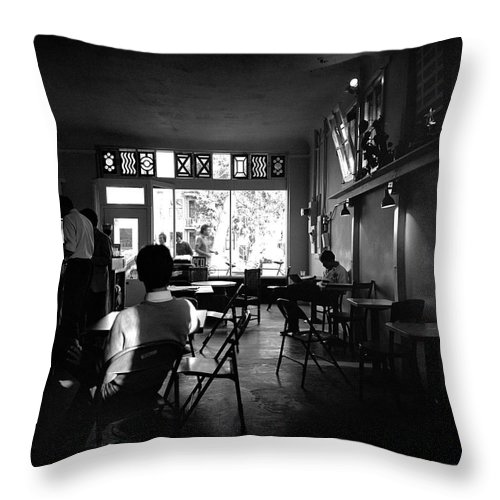 Sacramento Throw Pillow featuring the photograph Weatherstone Coffee House by Lee Santa