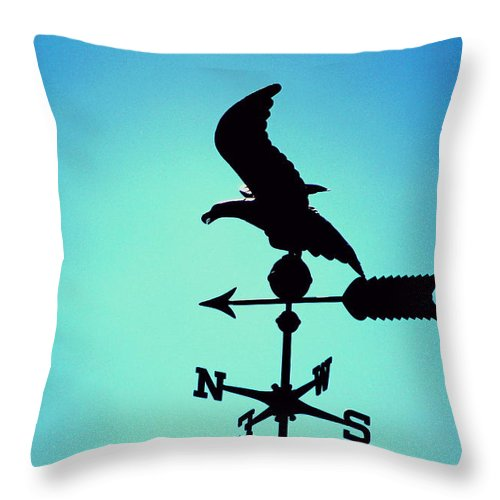 Blue Throw Pillow featuring the photograph Weathervane in Summer Blues by Colleen Cornelius