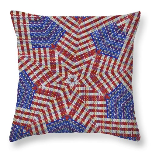 Throw Pillow featuring the digital art Weave A Star And Rainbow by Jeffrey Todd Moore