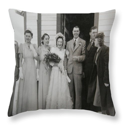 Classic Wedding Old Fashioned 1950s Wedding Dress Bride Groom Church Black And White Old Photographs Throw Pillow featuring the photograph Wedding Bells by Andrea Lawrence