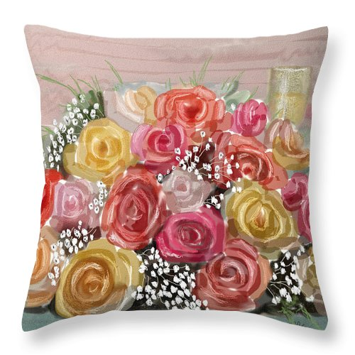 Roses Throw Pillow featuring the digital art Wedding Bouquet by Arline Wagner