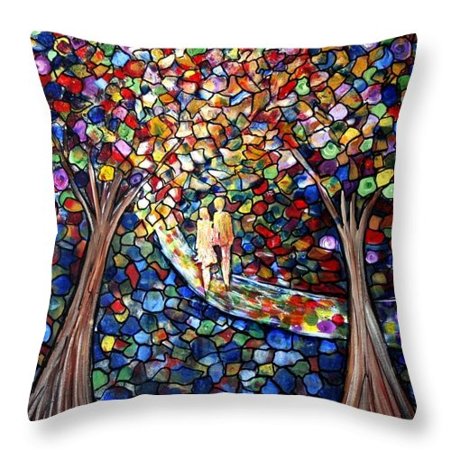 Romance Throw Pillow featuring the painting Wedding In The Park by Luiza Vizoli