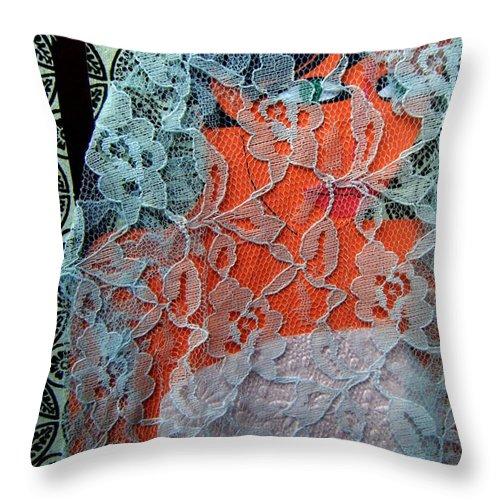 Portrait Throw Pillow featuring the mixed media Wedding Mask by Debra Bretton Robinson