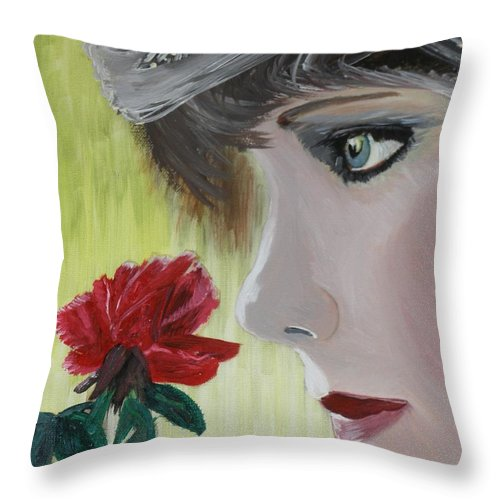 Romance Throw Pillow featuring the painting Wedding Rose by J Bauer