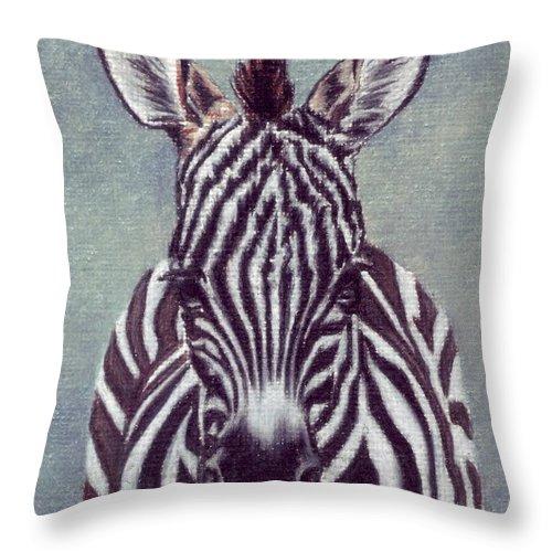 Zebra Throw Pillow featuring the drawing Wee Zeeb by Kristen Wesch