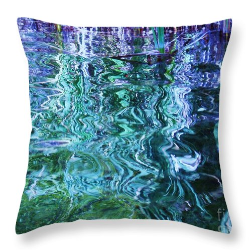 Photograph Blue Green Weed Shadow Lake Water Throw Pillow featuring the photograph Weed Shadows by Seon-Jeong Kim