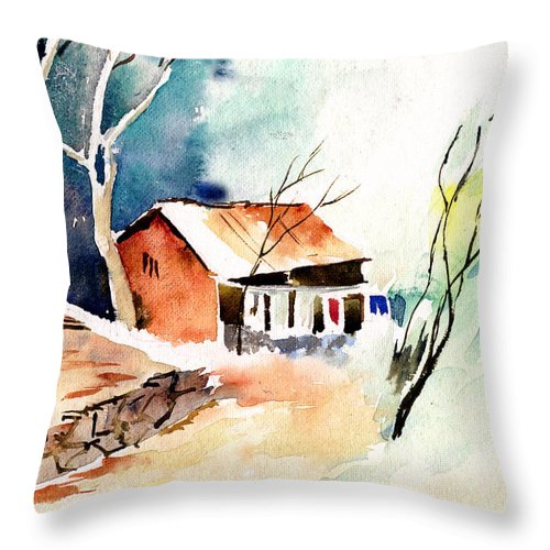 Nature Throw Pillow featuring the painting Weekend House by Anil Nene