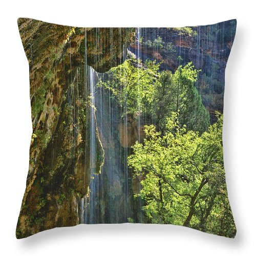 Southwest Throw Pillow featuring the photograph Weeping Rock - Zion Canyon by Sandra Bronstein