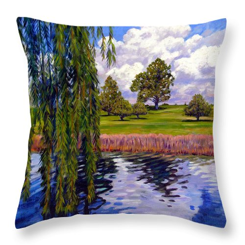Landscape Throw Pillow featuring the painting Weeping Willow - Brush Colorado by John Lautermilch