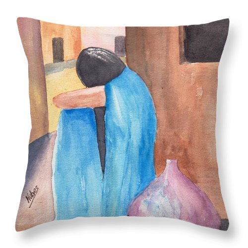 Southwest Throw Pillow featuring the painting Weeping Woman by Susan Kubes