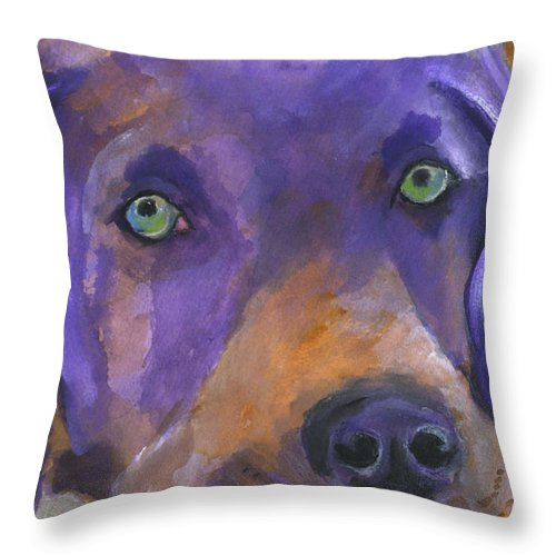 Dog Art Throw Pillow featuring the painting Weimaraner Dog Art by Mary Jo Zorad