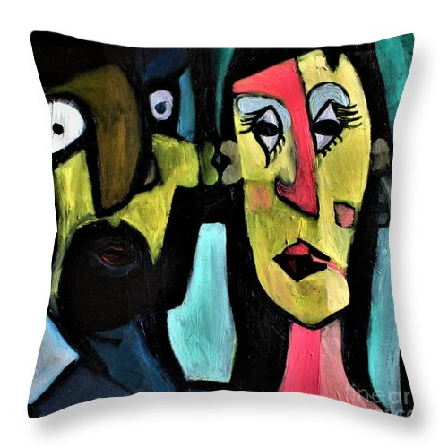 Weirdos Portrait Abstract Expressionism Yellow Pink Blue Black Caricature Male Female Love Friendship Connection Connect Fun Soulmate Souls Mental Spritual Throw Pillow featuring the painting Weirdos Connect by Stacy Neasham