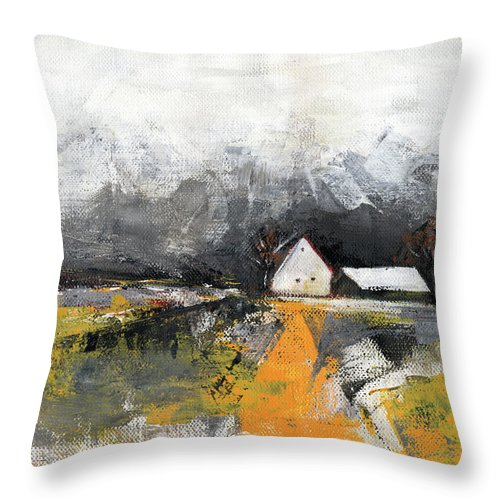 Landscape Throw Pillow featuring the painting Welcome Home by Aniko Hencz