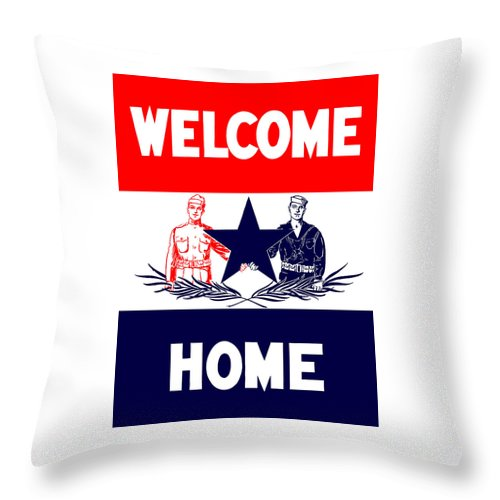 Ww1 Throw Pillow featuring the mixed media Vintage Welcome Home Military Sign by War Is Hell Store