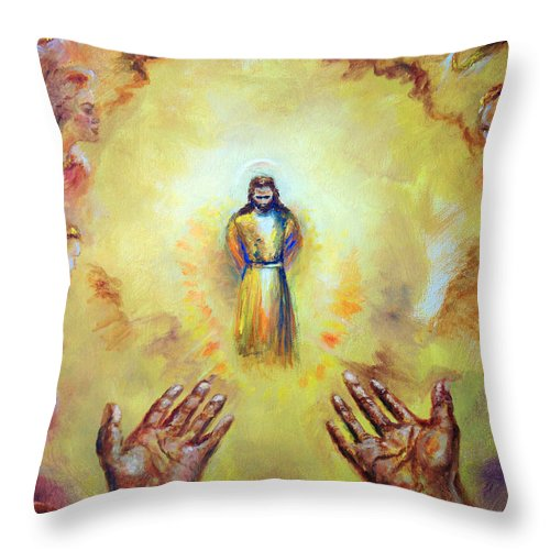 Jesus Christ Throw Pillow featuring the painting Welcome Home by Tommy Winn