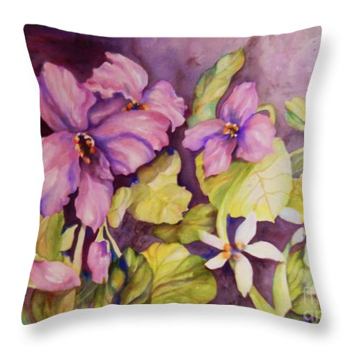 Top Artist Throw Pillow featuring the painting Welcome Spring Violets by Sharon Nelson-Bianco