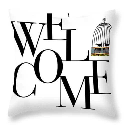 Welcome Throw Pillow featuring the digital art Welcome by Studio Best