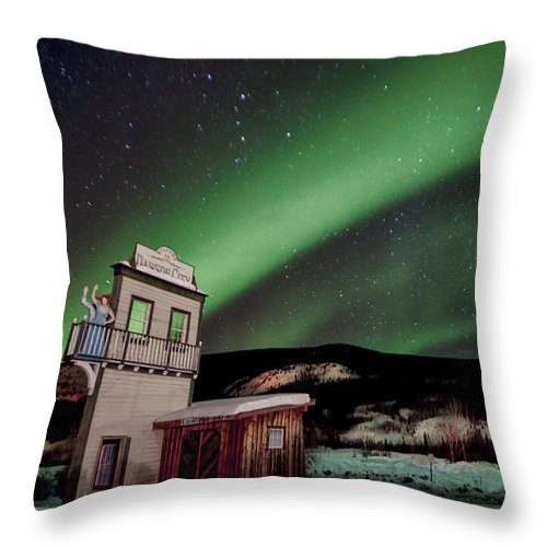 Dawson City Throw Pillow featuring the photograph Welcome To Dawson City by Craig Voth
