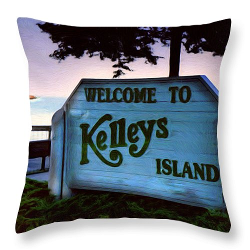 Island Throw Pillow featuring the painting Welcome To Kelleys Island by Kenneth Krolikowski