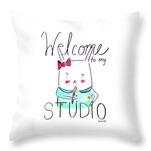 Bunny Throw Pillow featuring the drawing Welcome To My Studio by Ashley Lucas