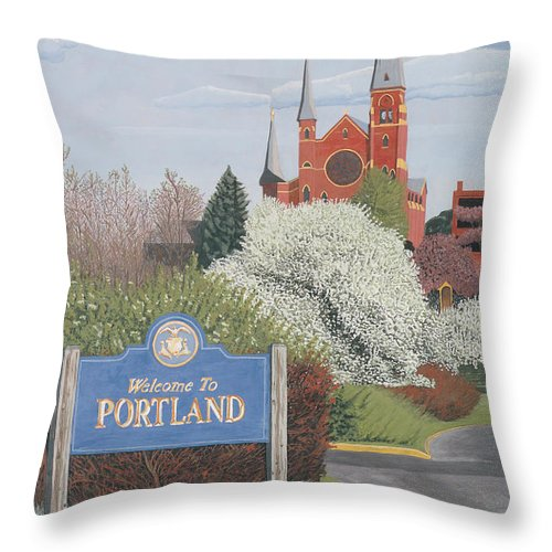 Church Throw Pillow featuring the painting Welcome To Portland by Dominic White