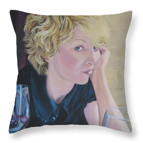 Portrait Throw Pillow featuring the painting Well by Connie Schaertl