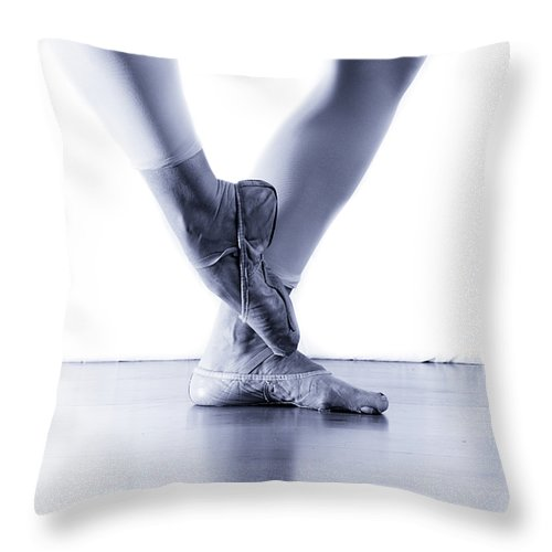 Ballet Slippers Throw Pillow featuring the photograph Well Loved Ballet Slippers by Scott Sawyer