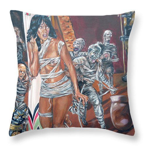 Egypt Throw Pillow featuring the painting Well Preserved by Bryan Bustard