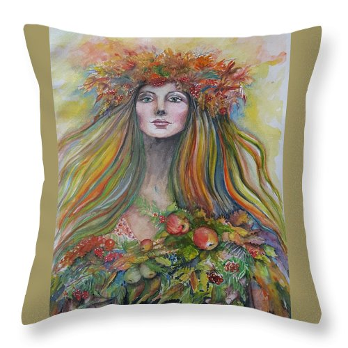 Autumn Throw Pillow featuring the painting Welcome To Autumn by Rita Fetisov