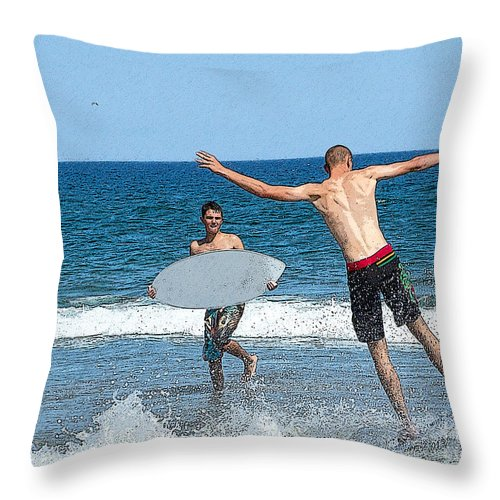 Beach Throw Pillow featuring the photograph Wells Beach 2 by Edward Sobuta