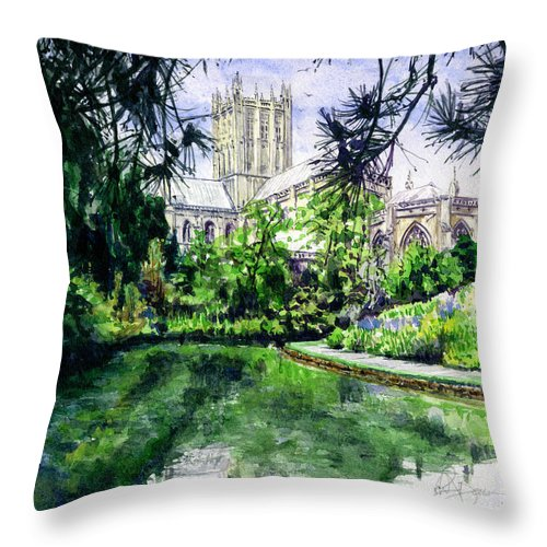 Wells Throw Pillow featuring the painting Wells Cathedral by John D Benson