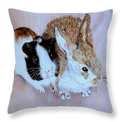 Pets Throw Pillow featuring the painting Wendy And Bobby by Helmut Rottler
