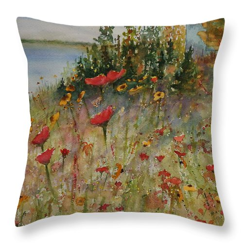 Nature Throw Pillow featuring the painting Wendy's Wildflowers by Ruth Kamenev
