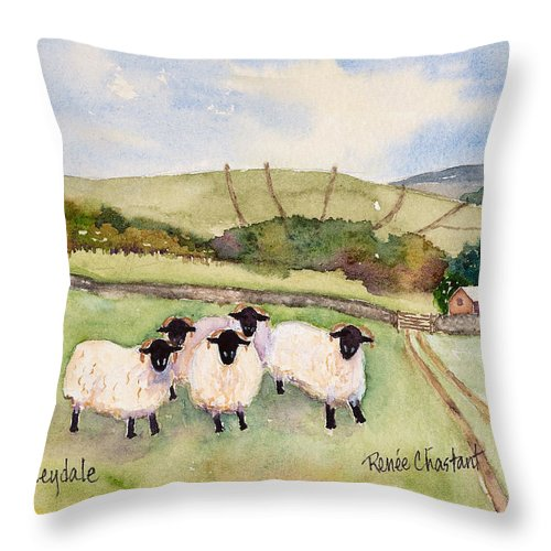 Wensleydale Throw Pillow featuring the painting Wensleydale Sheep by Renee Chastant