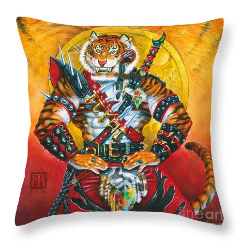 Fantasy Throw Pillow featuring the painting Werecat Warrior by Melissa A Benson