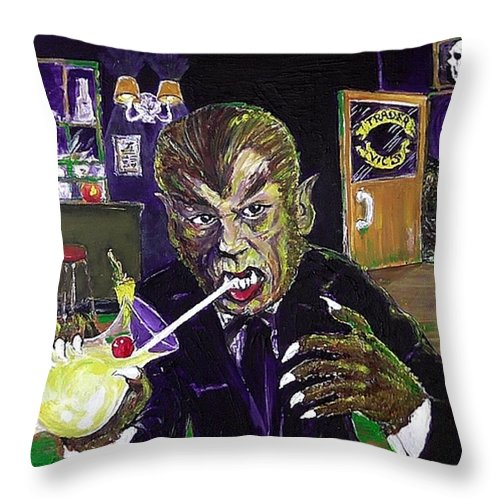 Werewolf Werewolves Of London Universal Monsters Pina Colada Warren Zevon Halloween Henry Hull Hollywood Mai-tai 1935 1978 1995 2014 Tonga Hut Beast In Show Witch's Dungeon Universal Ioka Bristol Connecticut Kent Throw Pillow featuring the painting Werewolf Drinking A Pina Colada At Trader Vic's by Jonathan Morrill