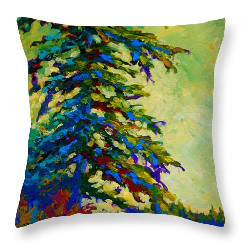 West Coastal Throw Pillow featuring the painting West Coast Sentinel by Marion Rose