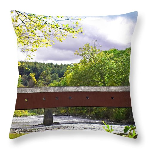 Coered Bridges Throw Pillow featuring the photograph West Cornwall by Gerald Mitchell