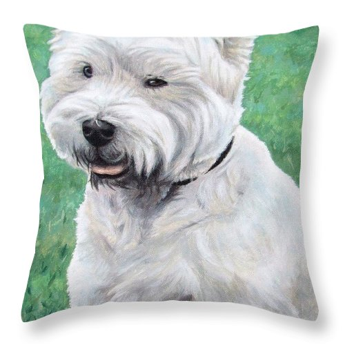 Dog Throw Pillow featuring the painting West Highland Terrier by Nicole Zeug