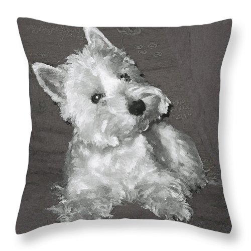 Westie Throw Pillow featuring the digital art West Highland White Terrier by Charmaine Zoe