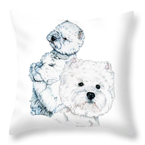 West Highland White Terrier Throw Pillow featuring the drawing West Highland White Terriers by Kathleen Sepulveda