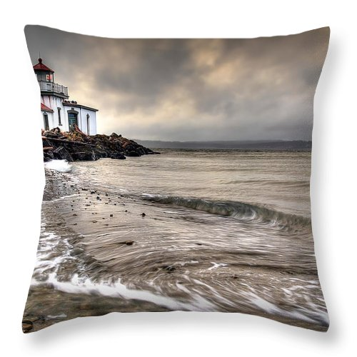 West Point Light House Throw Pillow featuring the photograph West Point Light House by Ryan Smith