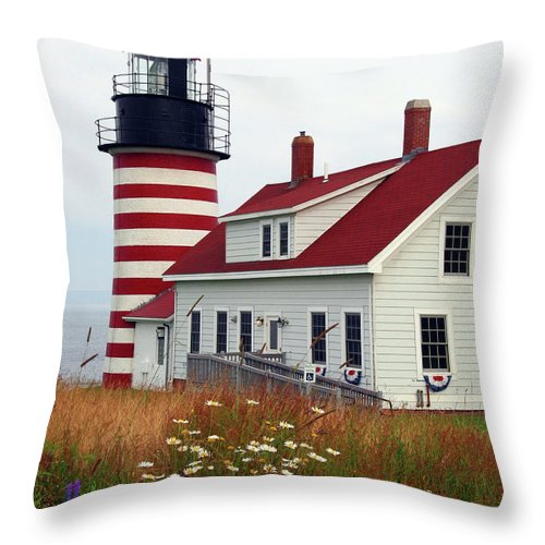 Eastport Maine Throw Pillow featuring the photograph West Quoddy Head Light by Brenda Giasson