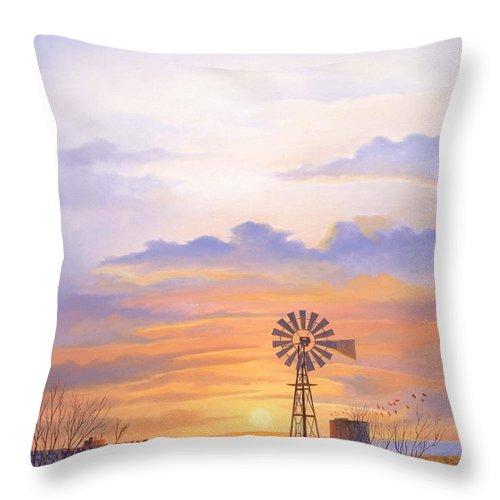 Windmill Throw Pillow featuring the painting West Texas Sundown by Howard Dubois